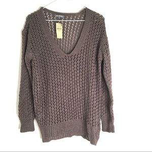 Loose Knit NWT Oversized Taupe V Neck Sweater